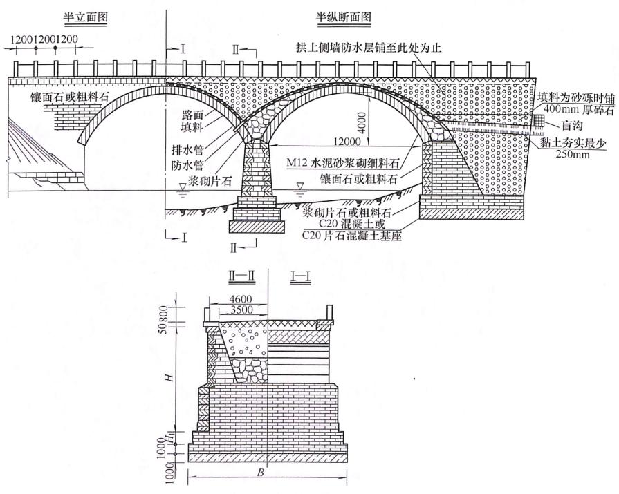 图7-28实腹式拱上建筑(尺寸单位:mm)