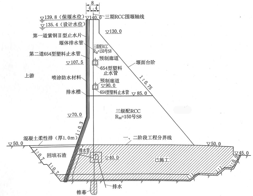 图1.2三峡工程三期上游RCC围堰断面图(单位:m)