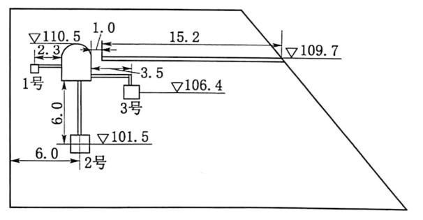 图1.3预埋集中药室爆破倾倒布置示意图(单位:m)