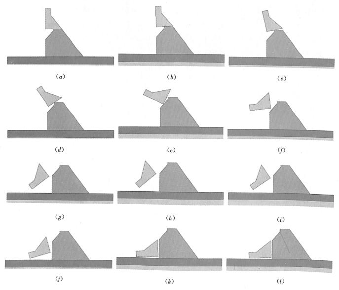 图3.241:100模型堰块计算倾倒过程(有水条件)