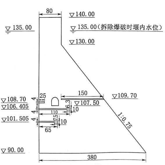 图3.251:10围堰模型药室布置横剖面图(高程单位:m,其余单位:cm)
