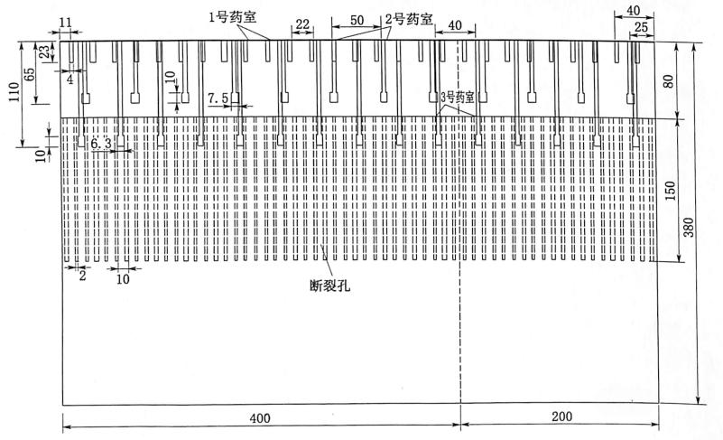 图3.261:10围堰模型药室布置平面图(单位:cm)
