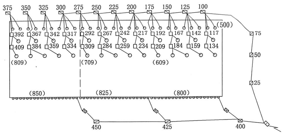 图3.27第1次爆破试验起爆网路图