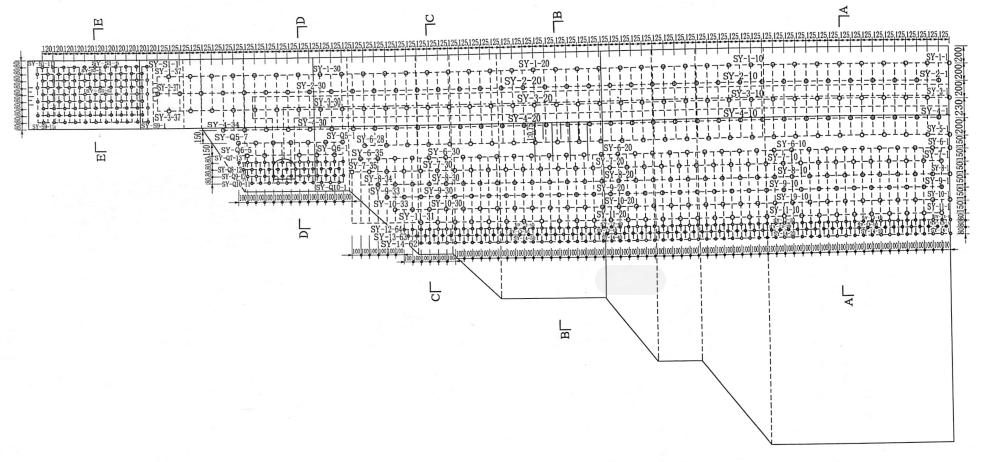 图4.42-5号堰块主爆孔平面布置图(单位:cm)