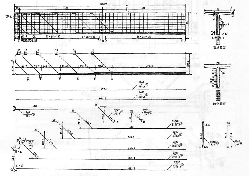 图1-1-27装配式T形梁块件梁肋钢筋构造