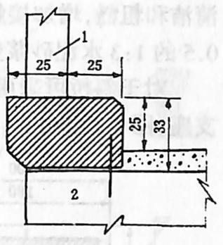 图1-1-43安全带尺寸单位:cm 1-栏杆柱; 2-预制板(梁)