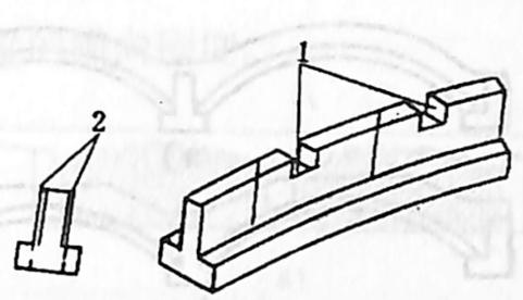 图1-1-54加强肋波结合面的措施1-槽齿;2-锚固钢筋