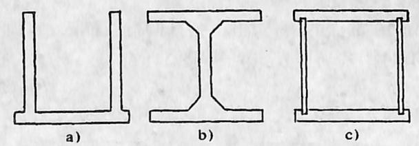 图1-1-64箱形拱主拱圈截面形式a)槽形截面箱;b)I字形截面箱;c)封闭箱