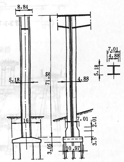 图2-1-76彼勒桥I型柔性墩构造 尺寸单位:m
