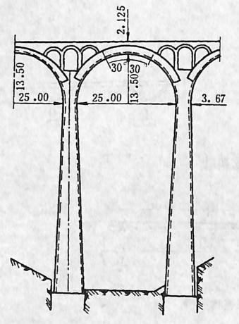 i图2-1-83拱桥弹性墩 尺寸单位:cm