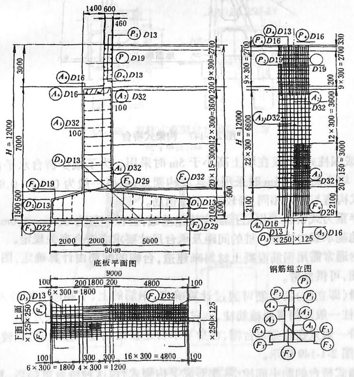 图2-1-144薄壁轻型桥台尺寸单位:cm,钢筋以mm计
