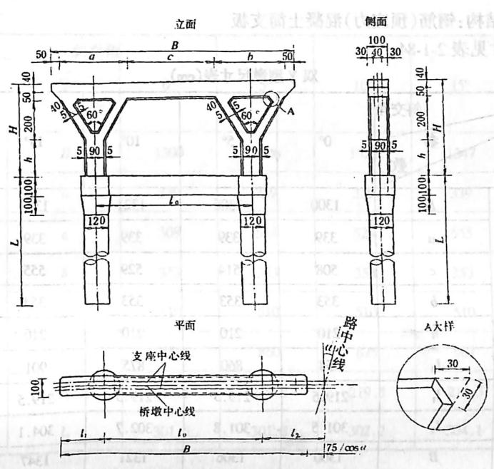 图2-1-189桩基础双Y型墩 尺寸单位:cm