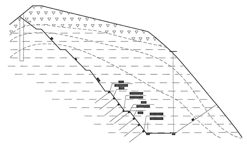 图9-14ZK30+930-K31+180深挖路堑设计断面图