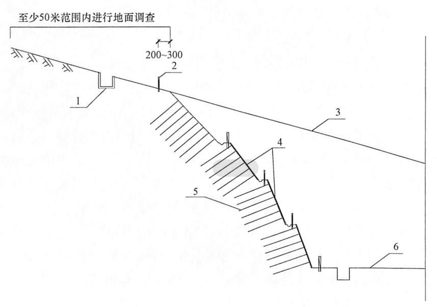 图9-21深路堑边坡沉降观测及防护示意图